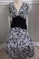 Diane von Furstenberg Women's Black & White Austin Empire Dress Size 6 (Dr900
