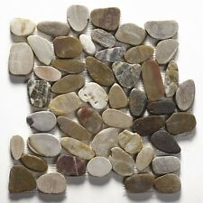 Multicolored flat riverstone pebble mosaic wall & floor tile