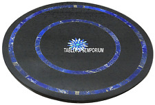 """18"""" Black Round Marble Coffee Table Top Real Lapis Gem Mosaic Inlay Home Decor"""