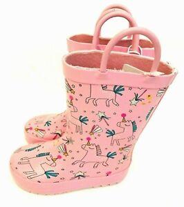 MOTHERCARE Girls Baby Wellies Pink Unicorns Handles Waterproof Wellington Boots