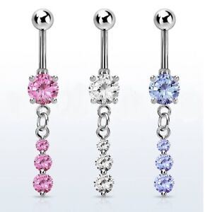 Dangle Belly Bar - Pink Clear or Light Purple - 6mm 8mm 10mm 12mm 14mm 16mm