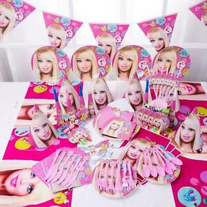 Barbie Girl Dolls Pink Kids Birthday Party Supplies Tableware Set Decorations UK