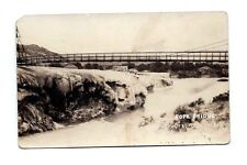 Vintage RPPC ROPE BRIDGE MINERAL HOT SPRINGS REAL PHOTO POSTCARD USA house river