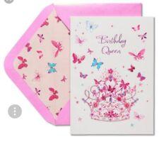 Papyrus Tiera Birthday Queen Butterflies Glitter Card ROYAL WONDERFULNESS NWT