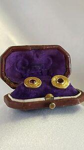 Antique (1864-1919) 18K Gold & Rhodolite Garnet Shirt Fasteners/Cufflinks