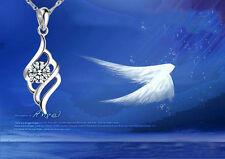 925 Silber Schutzengel Glücksbringer Engel Halsketten Anhänger Flügel Kristall