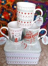 Scandi 50s retro nostalgia Christmas mugs x 3 in matching cake tin. New + tags!