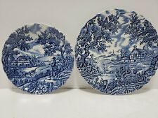 The Hunter By Myott Vintage Saucer and dessert plate Blue And White