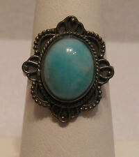 Vintage Antique Estate~4.6cts Amazonite 925 Sterling Silver Filigree Ring Sz 7.5
