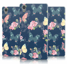 DYEFOR BUTTERFLIES & ROSES ON NAVY PROTECTIVE PHONE CASE COVER FOR SONY XPERIA