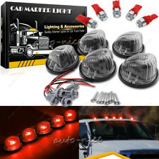 5 Round Cab Marker Smoke Lens Light Cover + T10 Ultra Red LED Bulb for GMC Chevy