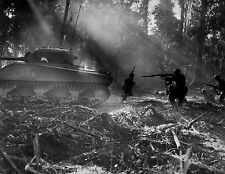 """US Soldiers with M4 Sherman Tank 8""""x 10"""" World War II Photo WW2 Picture #67"""