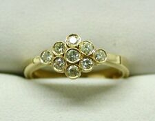 Beautiful 18 carat Gold And Canary Lemon Coloured Diamond Cluster Ring Size N