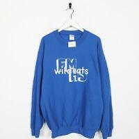 Vintage Novelty Graphic Wildcats Big Logo Sweatshirt Jumper Blue | Medium M