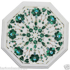 """12"""" Modern Marble Coffee Side Table Top Malachite Floral Marquetry Inlaid H2348"""