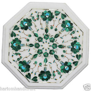 "12"" Modern Marble Coffee Side Table Top Malachite Floral Marquetry Inlaid H2348"
