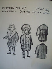 "Vintage 1970's Early 1900's Buster Brown Outfit  14"" -16""  doll clothes pattern"