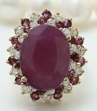 8 Ct Red Ruby and Diamonds in 14K Yellow Gold Over Engagement & Wedding Ring