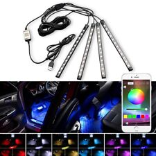 4X LED RGB Light Strip Car Atmosphere Phone App BT Control Interior Kit AUXITO