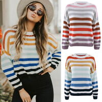 Women Crew Neck Kitted Jumper Pullover Long Sleeve Striped Sweater Knitwear Tops