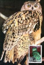 Birds Horned Owl China Maximum Card Vogel