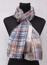 LADIES MARKS AND SPENCER NATURAL CHECK AND FLORAL MIX SCARF PASHMINA
