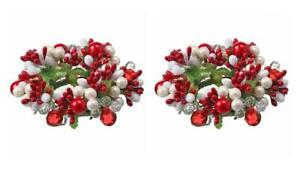 """Red and White Pearl with Berry and Jewel 5"""" Taper Candle Ring Set of 2"""