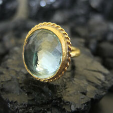Handmade Big Nice Green Amethyst Ring Gold over 925 Sterling Silver