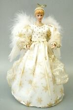 Angel Tree Topper Gift Xmas Decor Collect Snowflake Bowknot White Dress Wings
