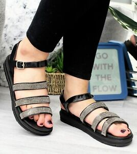 Diamante Jelly Sliders Ladies Summer Strap Sandals Womens Beach Flats Shoes Size
