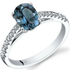 14K White Gold London Blue Topaz Ring Oval Cut 1.25 Cts Size 7