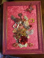 "Framed Jewelry Art  Mixed Media Vintage and Contemporary ""Be My Valentine"""