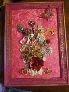 """Framed Jewelry Art  Mixed Media Vintage and Contemporary """"Be My Valentine"""""""