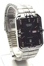 New Citizen Man 14 Genuine-Crystals, Silver-tone, Black-dial  Dress Watch