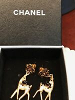 CHANEL 100% Authentic Chanel Gold Plated Rhinestone CC Bambi Deer Earrings