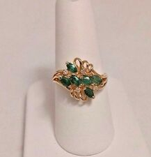 GEMS - EN - VOGUE 14 K YELLOW GOLD 1.5 CT EMERALD & DIAMOND RING. SIZE 7.5