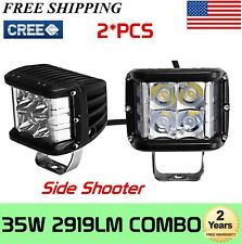 2X 4''INCH 35W Side Shooter LED WORK LIGHT For Ford Jeep 4WD Truck Boat Tractor