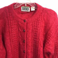 Forenza Vintage Women M Mohair Nylon Sweater Hot Pink Fucshia Cable Knit Soft