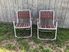 Set of 2 Vintage Folding Lawn Patio Chairs Aluminum Wood