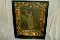 VICTORIAN BELLE EPOQUE SHADOW BOX STACKED FRAME WAVY GLASS LITHOGRAPH LADY PRINT