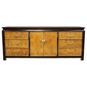 Mid Century Modern Chin Hua Century Burl Wood & Brass Credenza Dresser 1970s