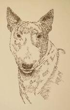 Bull Terrier Dog Art Portrait Print #50 Kline adds dog name free. Word Drawing