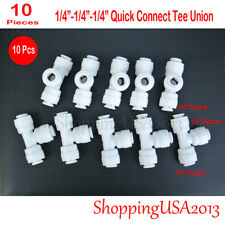 """10 X 1/4""""-1/4""""-1/4"""" Tee Union Fitting Push In Water Filters/RO System"""