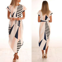 Fashion Women Ladies Casual Short Sleeve V Neck Printed Maxi Dress With Belt New