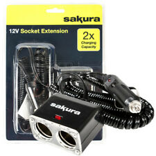 Coche 12 V 2 manera Socket Extension Lead puertos de cargador doble de enchufe de encendedor de cigarrillos