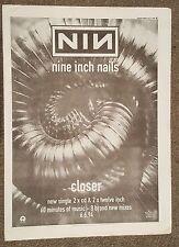 Nine inch nails NIN Closer 1994 press advert Full page 30 x 42 cm mini poster