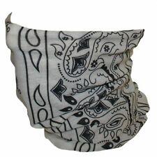 White Paisley Tubular Multi Function Headwear Beanie Scarf Balaclava Face Mask