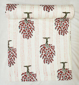 Indian Cotton Twin Kantha Quilt Hand Block Printed Coverlet Bedspread Bed Cover