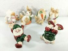 Fitz and Floyd Rabbit And Elves FigurinesLot Of 6