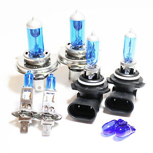 H1 H4 HB4 501 100w Super White Xenon HID High/Low/Fog/Side Light Bulbs Set